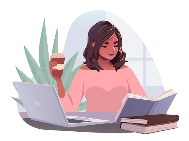 ラップトップを使用して働く若い女性と屋外カフェでコーヒーを飲む