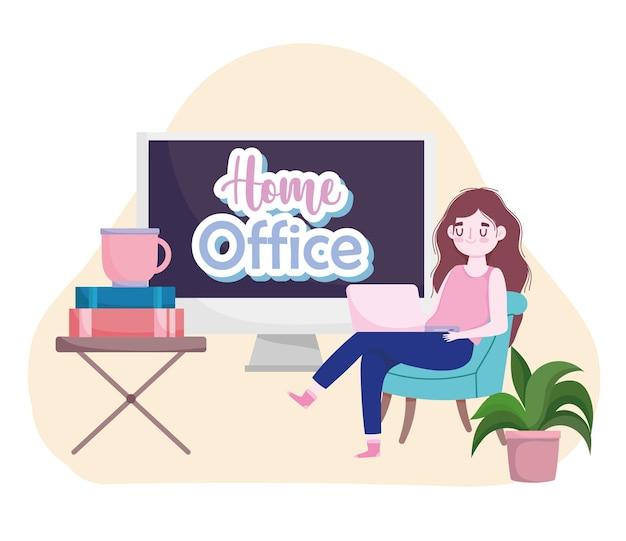 本とコーヒーカップのホームオフィスのイラストで作業ラップトップを使用して若い女性