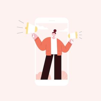 Молодая женщина с помощью мегафонов. рекламное продвижение. объявить концепцию.