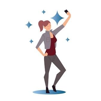 스마트 폰을 사용 하여 selfie 그림을 복용하는 젊은 여자
