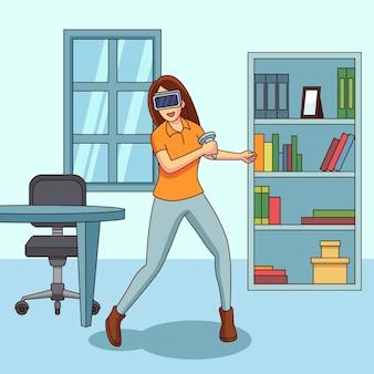 Молодая женщина в очках виртуальной реальности