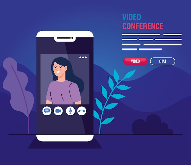 Young woman in video conference in smartphone