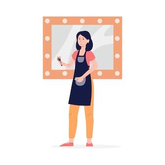 Визажист или визажист молодой женщины, стоящий перед большим зеркалом