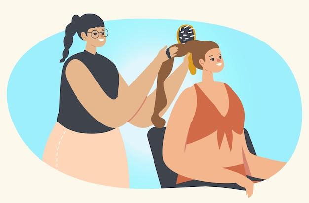 미용실을 방문하는 젊은 여자. 이발소에서 소녀를 위해 땋은 머리 스타일을 하는 마스터 캐릭터는 거울 앞에서 빗을 사용합니다.