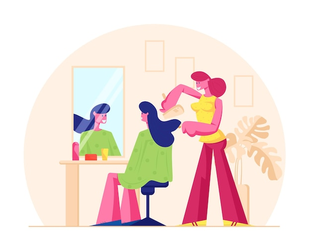 뷰티 살롱을 방문하는 젊은 여자. 거울 앞에서 팬과 함께 이발소 건조 머리에서 소녀를위한 이발을하는 마스터. 만화 평면 그림
