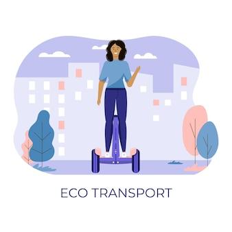 若い女性が歩いて、公共の公園でエコ都市交通を運転します。個人用電気輸送、グリーン電動スクーター。白で隔離される生態学的な乗り物