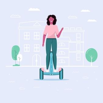 Молодая женщина гуляет и водит эко городской транспорт в общественном парке. личный электротранспорт, зеленый электросамокат или сигвей. экологический автомобиль, концепция городской жизни