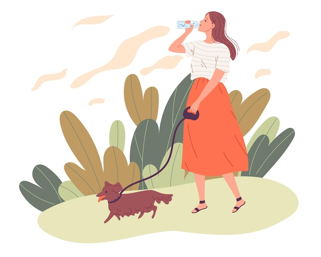Young woman walking her dog and drinking water.