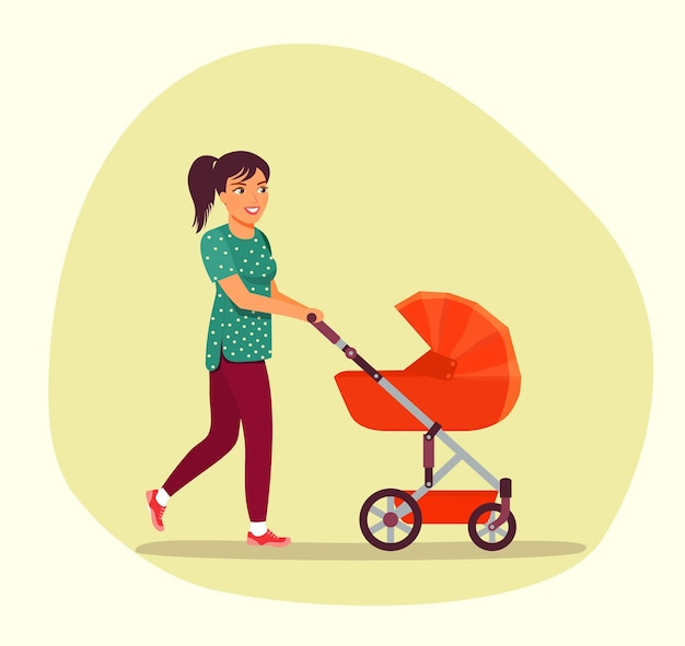 Young woman walking with baby stroller isolated. vector illustration.