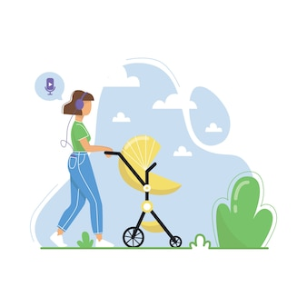 Young woman walking with baby stroller and listening to podcasts, online radio streaming, music, audiobooks. flat illustration.