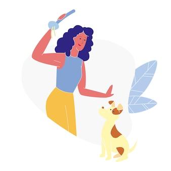 Young woman washing dog flat vector illustration
