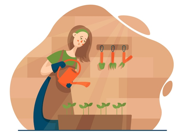 뒤뜰에 plantgardening 식물에 물을 젊은 여자.