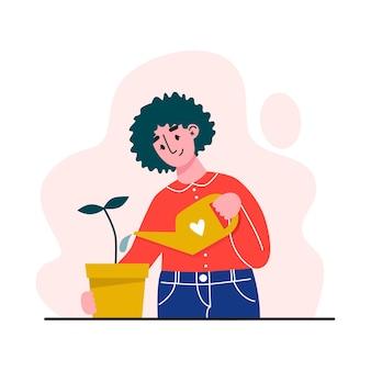 Молодая женщина поливает комнатное растение. уход за комнатными растениями. плоский рисунок.