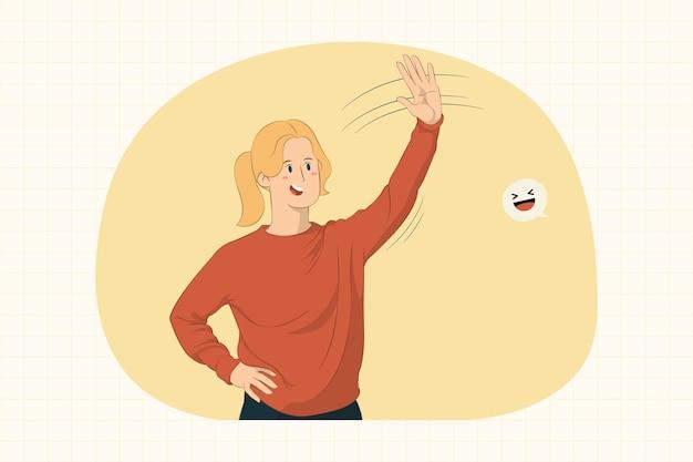 Молодая женщина машет рукой и приветствует, когда замечает чью-то концепцию