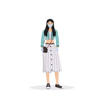 Молодая женщина в маске плоского цвета безликого характера