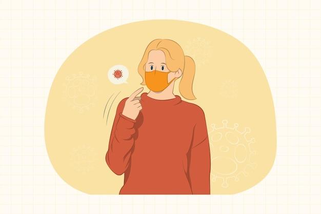 Молодая женщина в маске для защиты от коронавируса