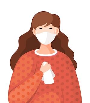 立っている顔の医療マスクを身に着けている若い女性