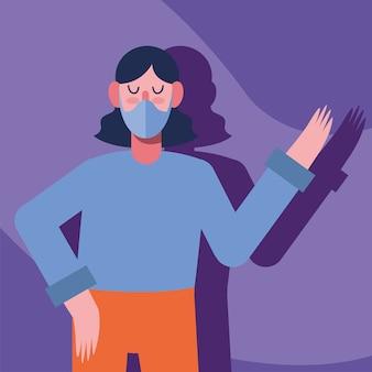보라색 일러스트 디자인에 의료 마스크 보호를 착용하는 젊은 여자