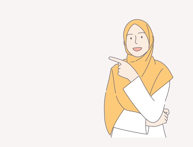 Young woman wearing scarf over isolated pink background pointing finger hand drawn illustration concept.