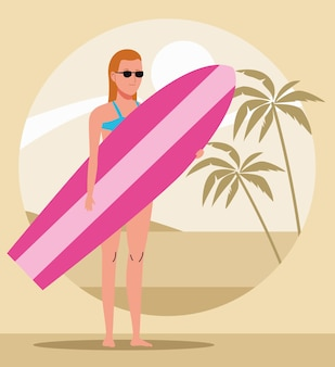 Young woman wearing swimsuit with surfboard character