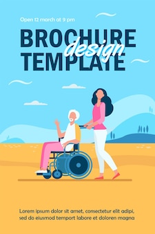 Young woman wheeling wheelchair with senior man flyer template