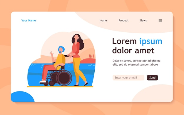 Young woman wheeling wheelchair with senior man. volunteer helping disabled person flat  illustration. disability, volunteering concept  website design or landing web page