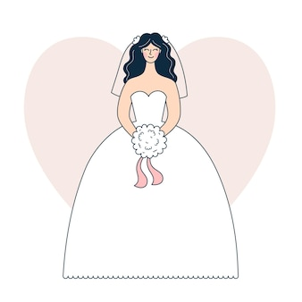 Young woman in white wedding dress, bride with a bouquet at the wedding, festive celebration. vector illustration in outline style, colored doodle.