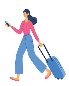 수하물 가방을 가진 젊은 여자. 여행할 시간. 레크리에이션 및 관광. 여행. 비즈니스 주제 - 출장, 웹 템플릿, 헤더. 여행 개념입니다. 벡터 평면 그림