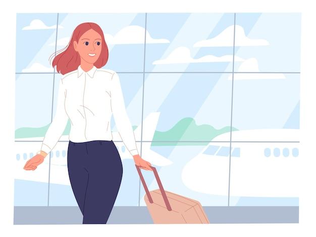 이륙 필드를 배경으로 공항에서 가방을 든 젊은 여성
