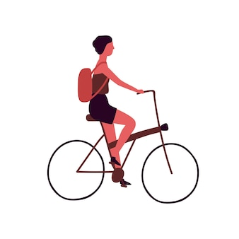 Young woman with backpack riding bicycle flat vector illustration. student with rucksack at urban vehicle. female cartoon character riding eco transport. city trip isolated on white background.