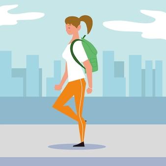 배낭 도시 거리 그림에서 걷는 젊은 여성