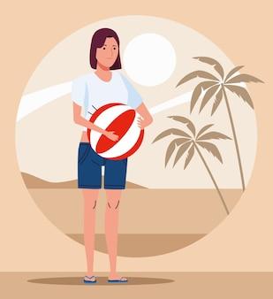 해변 풍선 아이콘 일러스트 디자인을 가진 젊은 여자