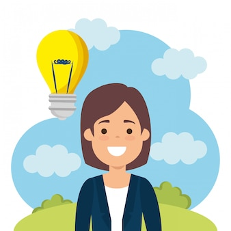 Young woman with bulb character