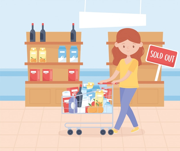Young woman with cart and shelves with food excess purchase
