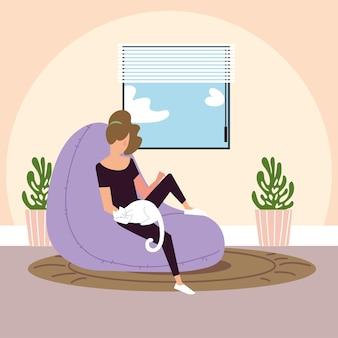 고양이 휴식 그림 그림에 앉아있는 젊은 여자