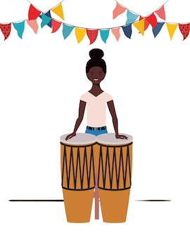 Young woman with congas