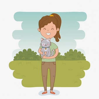 Young woman with cute cat mascot