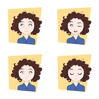 Young woman with different facial emotions set of girl face expressions