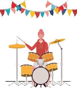Young woman with drum kit