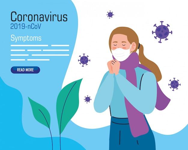 코로나 바이러스 covid 19의 아픈 얼굴 마스크와 젊은 여자