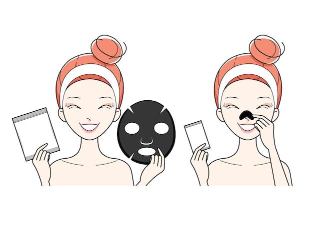 顔のマスクを持つ若い女性