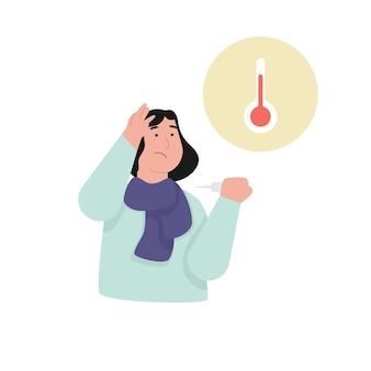 발열 증상을 가진 젊은 여자 프리미엄 벡터