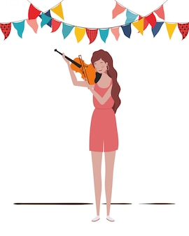 Young woman with fiddle
