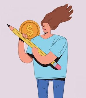 금융 비즈니스 아이콘 일러스트 디자인으로 젊은 여자
