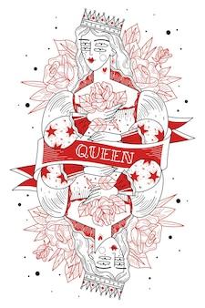 꽃과 왕관과 함께 젊은 여성