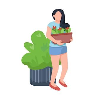 꽃 일러스트와 함께 젊은 여성