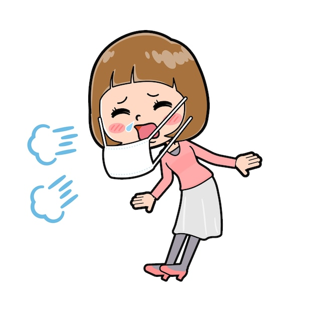 A young woman with a gesture of sneeze. cartoon character.