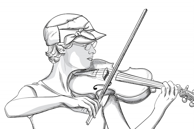 Молодая женщина в очках и шляпе, играя на скрипке. штриховая графика