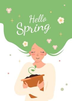 녹색 머리를 가진 젊은 여자가 새싹 냄비를 껴안습니다. 행복한 소녀가 봄을 기다리고 있습니다. 자연과 우리 주변의 세계에 대한 관심과 사랑. 3월 엽서. 벡터 평면 그림