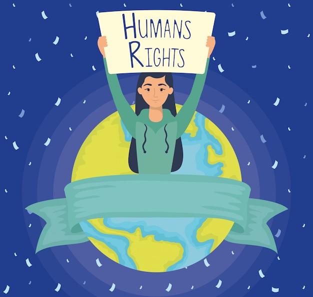 Молодая женщина с лейблом прав человека и планеты земля векторная иллюстрация дизайн